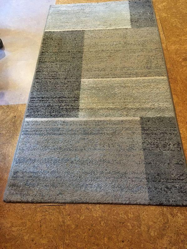 Teppich Kurzflor in Karo-hellblau-beige-grautönen 150