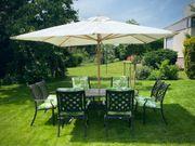 Gartengarnitur Tisch Stühle Schirm Polster