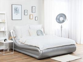 Schränke, Sonstige Schlafzimmermöbel - Bett Kunstleder Silber mit Bettkasten