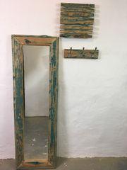 Garderobe- Set Spiegel Uhr Aufhänger