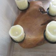 Kerzenhalter Teak Holz Windlicht mit