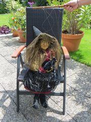 Große Marionette Hexe mit Katze