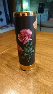 Vase mit Goldrand 24 Karat