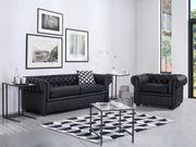 Sofa Leder schwarz CHESTERFIELD neu -