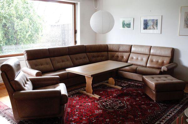Sitzgruppe Leder Ecksofa Hocker Sessel