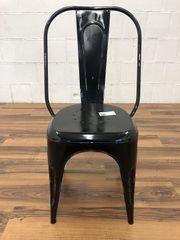 Blechstuhl Metallstuhl schwarz retro