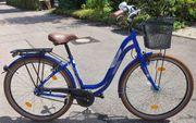 Blaues Retro Damen-Cityrad