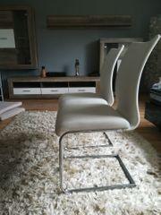 2 weiße Hochlehner Stühle-echtes Leder