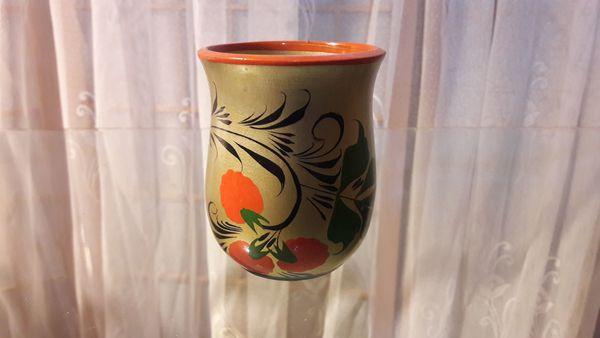 kleine handbemalte Vase Blumendekor kostenloser