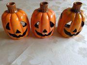 Halloween - Teelichthalter Kürbis 3 Stück