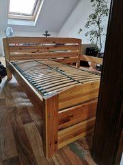 Schlafzimmerbett 2 Lattenroste Kiefer massiv