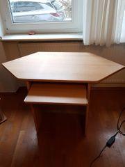 stabiler Schreibtisch Buche mit Tastaturfach