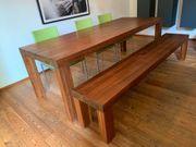 Premium Massivholz Esstisch mit Bank