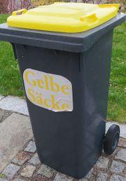 Mülltonne 120L schwarz gelber Deckel