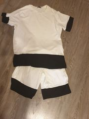 2 teiliger schwarz-weißer anzug größe