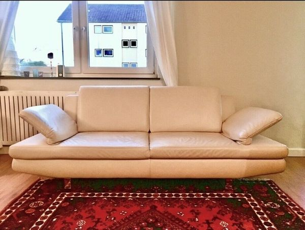 2 X Leder Couch Sofa Echtes Leder Mit Hocker Farbe Champagner In