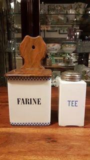 Antike Mehl und Teebehälter