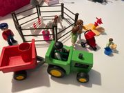 Playmobil Traktor Pferdekoppel mit Besucher