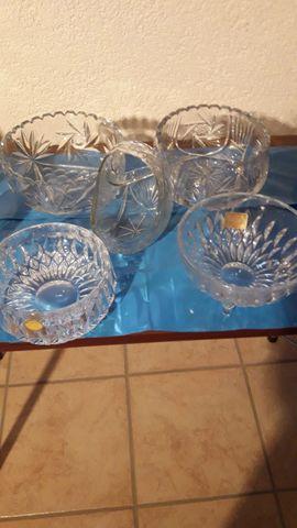Glas, Porzellan antiquarisch - Bleikristallvasen Schalen Eiseimer 24 PBO