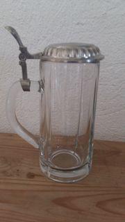 Bierkrug mit Zinndeckel antik 05