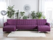 Schlafsofa U-förmig Polsterbezug violett ABERDEEN neu
