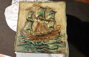Majolika Stein Bild Porzelan Segelschiff