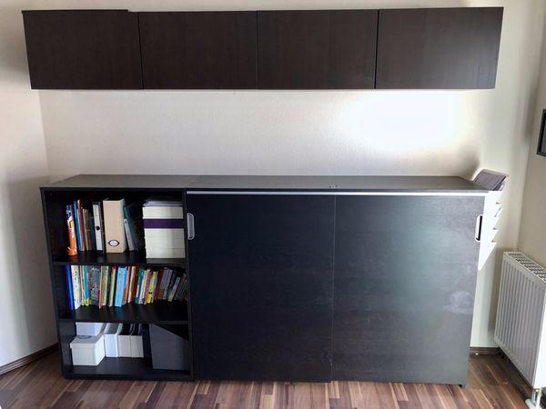 Ikea Galant Besta Arbeitszimmer Büroeinrichtung In Schwarzbraun In