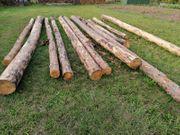 Gerades Stammholz teilweise entrindet Kiefer