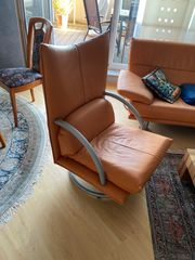 Leder-Couchgarnitur Couch Sofa Fernsehsessel Hocker