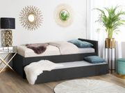 Tagesbett ausziehbar Polsterbezug dunkelgrau Leinenoptik
