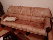 Leder-Couch 3-Sitzer creme beige Holz