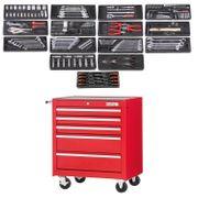 Werkstattwagen rot gefüllt 5 Schubladen