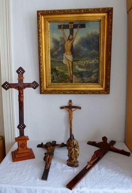 Kunst, Gemälde, Plastik - 6 x Religiös uralt Kreuz