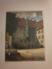 Original-Radierung München Alter Hof