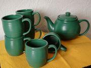 Teekanne mit 6 Teetassen grün