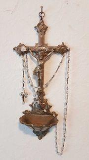 Antik Zinn Kreuz Weihwasser Schale