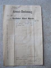Arznei Rechnung von 1880