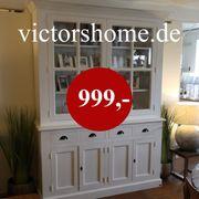 Weisse Landhausvitrine Glasschrank mit Schubladen
