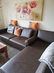 Ledersofa mit Lounge Chair L-Form