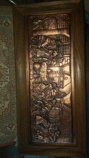 Kupferbild Kupferstich Kupferrelief mit Urkunde
