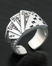 Pokerring Pokerspieler versilbert Durchmesser 2