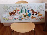 WANDBILD BAUERNHOF Kinderzimmer HANDARBEIT Sehr