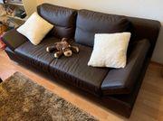 Dunkelbraune Kunstleder Couch Sofa Sitzmöbel