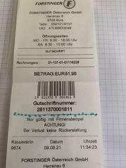 Gutschrift Forstinger EUR 51 98