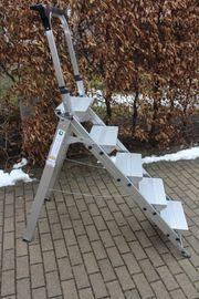 neuwertige Alu- Treppenleiter 5-stufig von