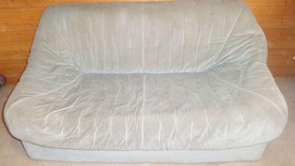 Couch Sofa 2-Sitzer Stoff grau blau