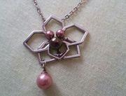 Misaki Halskette silber Perlen Orchidee
