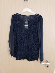 schwarzes Langarmshirt mit Netzärmeln 48