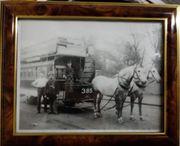 2 alte Fotos gerahmt Pferdegespann