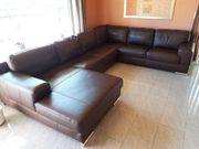 Sofa-Garnitur echt Leder dunkelbraun